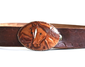 Vintage Brown Leather Belt with Horse Head Belt Buckle