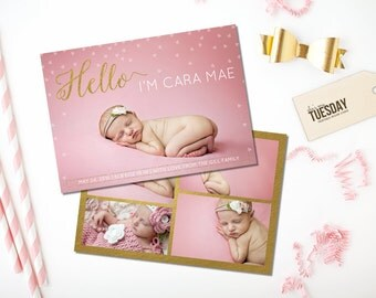 Gold Birth Announcement - Girl Birth Announcement - Hello Birth Announcement - Pink and Gold Birth Announcement - Words on Picture - Newborn