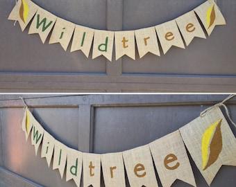 Wildtree Company Burlap Banner, Bunting Sign, Garland