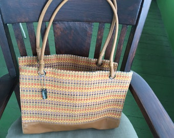REDUCED Sag Harbor summer multi color woven and brown tote handbag purse
