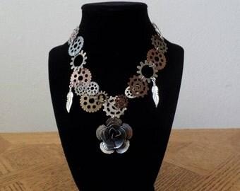 Steampunk rose necklace