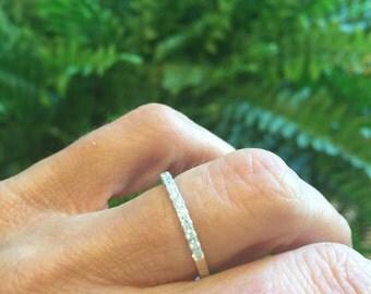 Diamond Wedding Band 18kt White Gold Round Diamonds .27cttw French Pave Set Diamond Band Wedding Band Anniversary Band Wedding Ring