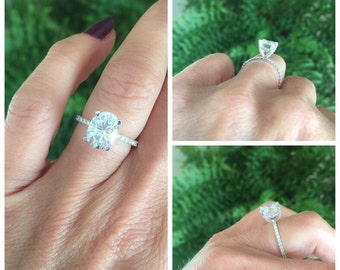 Oval Forever One Moissanite Engagement Ring 2.10ct Oval Center .37ct Natural Diamonds 14k White Gold Unique Ring Pristine Custom Rings