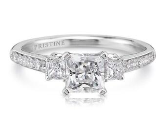 Princess Cut Engagement Ring Forever One moissanite & Natural Diamonds 3 Stone 6.0mm Princess Cut Center  .36ct Diamonds 18k White Gold Ring
