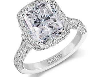 Forever One Moissanite Halo Engagement Ring 10x8mm Radiant Cut Moissanite 1.15ct Natural Diamonds White Gold Ring Pristine Custom Rings
