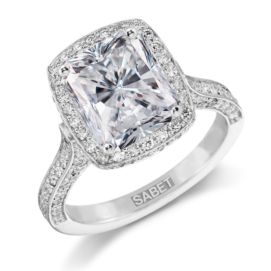 forever one moissanite halo engagement ring 10x8mm