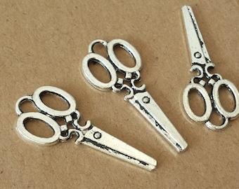 10 pcs 34*15mm vintage style Scissors Charms ,Antique Silver Scissors Charms , Antique Silver Scissors Charms Pendant ABT005