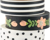 Black and White Washi Tapes, 3 Rolls, Black and White, Rose, Floral