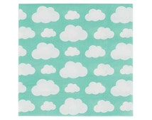 """Clouds Napkins (20), Rainbow Party Supplies, Mint Napkins, Luncheon Napkin 6.5"""", Rainy Day Theme, Showers, Up Up and Away"""