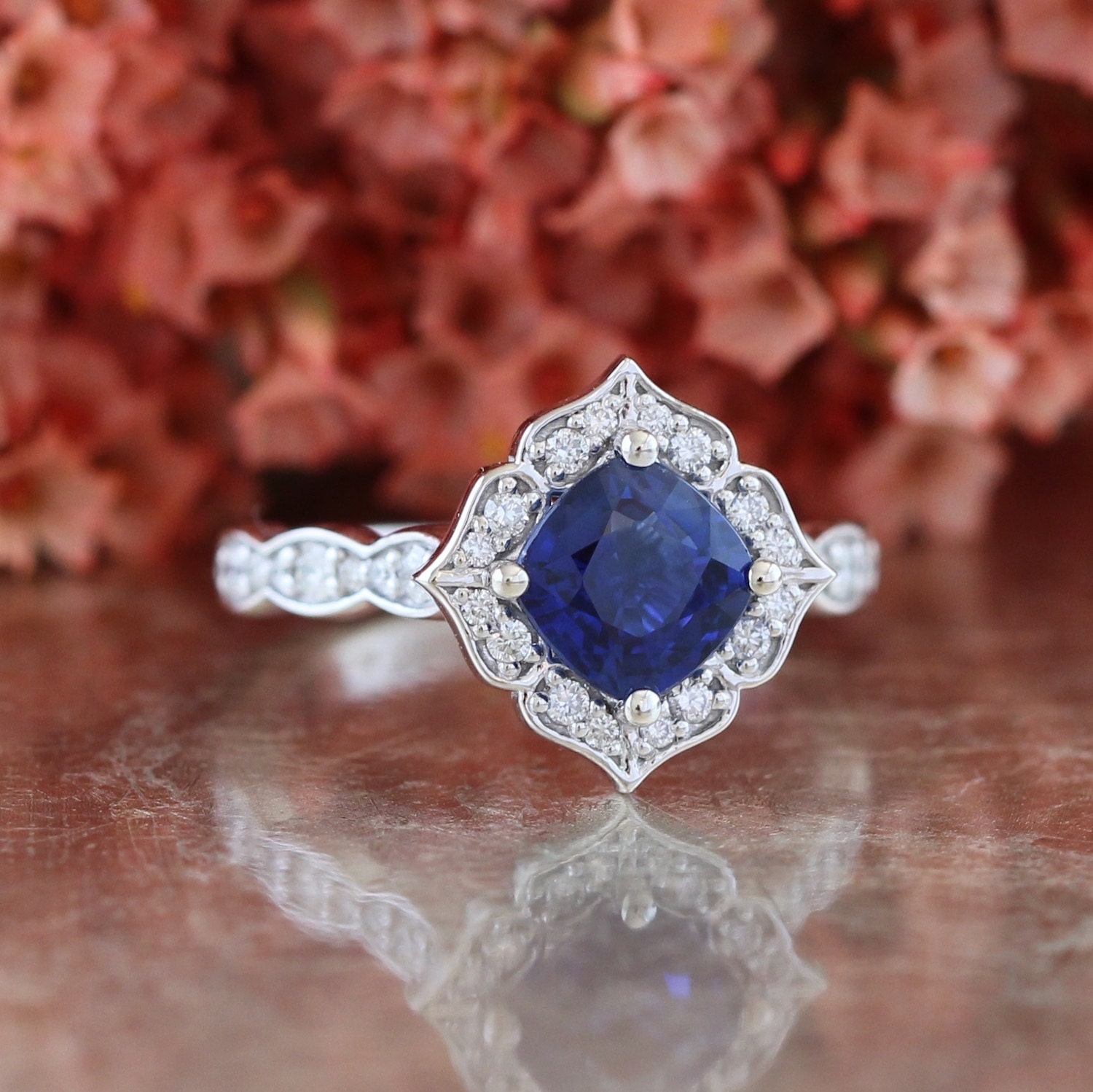Vintage Floral Sapphire Engagement Ring in 14k White Gold