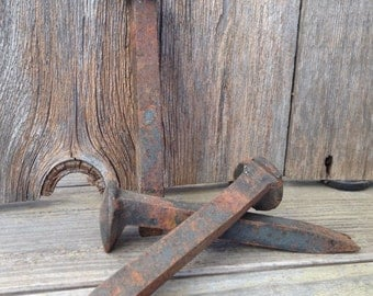Three (3) Old Rusty Vintage Railroad Spikes