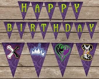 Disney Descendants Party Descendents Birthday Banner, Mal, Evie, Birthday Party Descendants Banner, Descendants Disney Birthday Printable