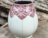 Carved pottery vase, carved ceramic vase, mauve pottery vase, pink pottery, clay pottery vase, DL16119