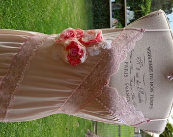 Vintage SALE! Marie Antoinette shabby chic antique pink Nightie dress alternative wedding dress chic upcycled slip dress