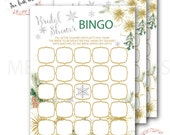 Bridal Shower Bingo // Bingo Game // Snowflakes // Bridal Shower Games // Winter Bingo // Gold // Instant Download // VERMONT COLLECTION