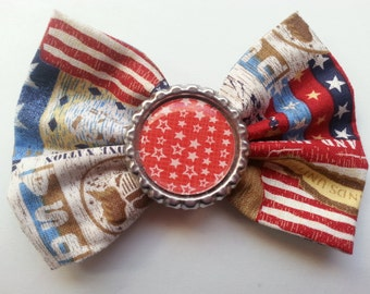 Fourth of July- Fourth of July Hair Bow- America- American Themed Hair Bow- Independence Day- Independence Day Hair Bow- Red White Blue