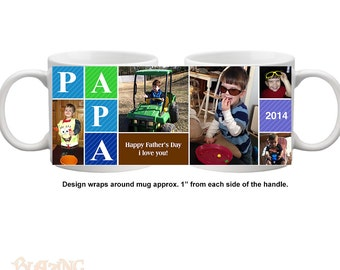 Personalize Papa's every morning cup of coffee with this high quality, durable, Personalized Photo coffee mug - #PAPA01