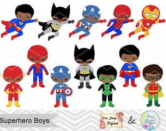 24 Superhero Boys Digital Clipart, Superhero Clip Art, Boy Superhero Clip Art Little Boy Super Hero Clipart Africa American Super Hero 00205