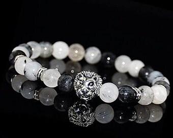 Lion Bracelet, Lion Head Beads Bracelet, Quartz Beads Lion Bracelet, Gemstone Jewelry, Mens Beaded Bracelet, Lion Mens Bracelet,Lion Jewelry