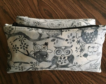 Batik owls zipper pouch can be used as a pencil case, cosmetic case