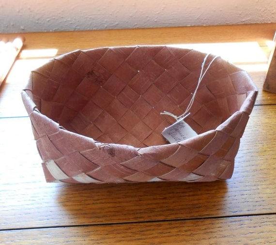 Handmade Vintage Alaskan Birch Bark Basket