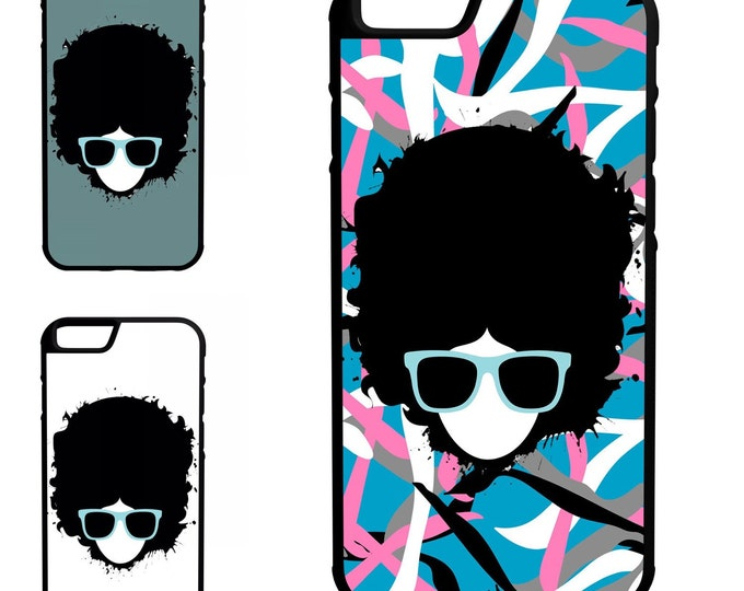 Afro Girl Glasses iPhone Galaxy Note LG HTC Hybrid Rubber Protective Case
