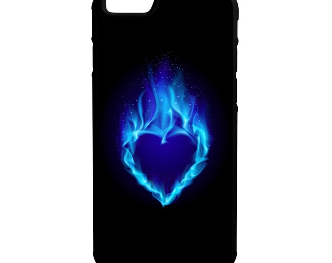 Blue Heart iPhone Galaxy Note LG HTC Hybrid Rubber Protective Case