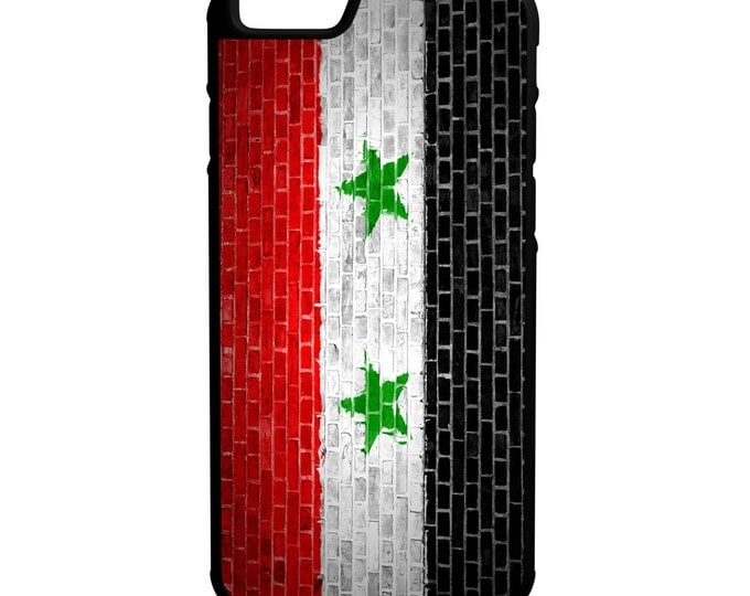Syria Flag On Brick Wall iPhone Galaxy Note LG HTC Hybrid Rubber Protective Case