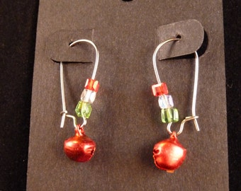 Small Red Bell Christmas Earrings