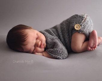 Newborn Baby bodysuit with bum flap - baby prop - knit baby prop - knit newborn romper -  baby romper. baby bum flap outfit