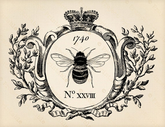 Printable Clipart Vintage HONEY BEE graphics In Frame