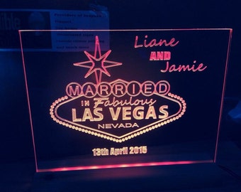 just married new Vegas illuminated with or without names dates