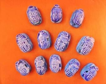 12 Large Handmade Egyptian Art Ceramic Stone Scarabs beads W/ Hieroglyphics Jewellery