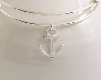 Silver anchor bangle bracelet