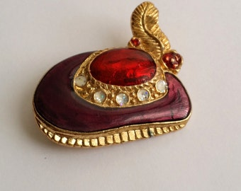 Cut Vintage Gold Tone Enamel Feather Hat Pin Brooch