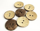 7 Large (1 3/8 inch) Vintage Coconut Buttons, Natural coco nut shell buttons, never used!!
