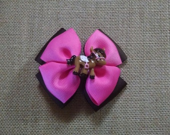 Cowgirl Hairbow, Pony Hairbow, Pink Hairbow, Girls Hairbow, Girls Hair Accessory, Brown Hairbow, Toddler Hairbow, Little Girls Hairbow