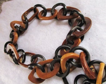 Large Carved Buffalo Horn Linked Chain
