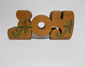 joy wood block letters candle holder christmas holiday decor table mantle display rustic primitive country