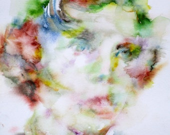 LEWIS CARROLL - original watercolor portrait - one of a kind!