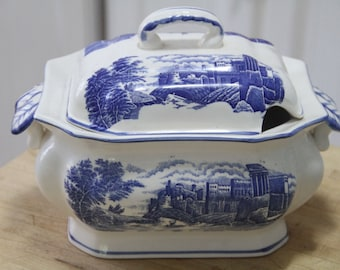 Collectable Vintage Trimont Ware SOUP TUREEN Blue and White with Lid