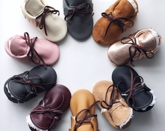 Leather Sherpa Moccasins - Specify Color at Checkout