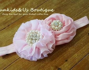 Pink Baby Headband- Baby Girl Hair Bows- Flower girl headband,. Pearl and rhinestone headband