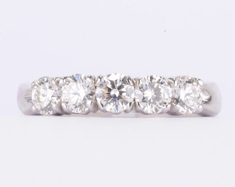 14K White Gold 5-Stone Diamond Ring