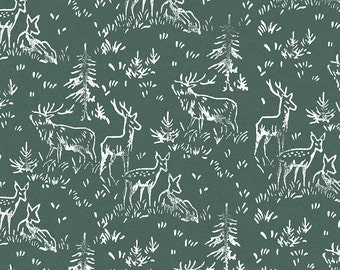 """Forest Green Deer Gift Wrap: Green Kraft Wrapping Paper Sheet with Hand Printed White Deer (70cm x 50cm / 27.5"""" x 19.5"""")"""