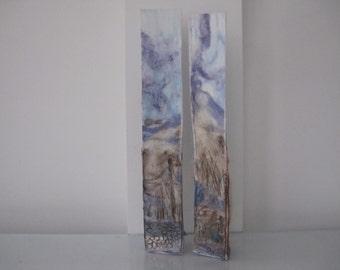 EMBROIDERED LANDSCAPE VESSELS -Embroidered art,embroidered vase, embroidered container, art landscape, 3D textile art, textile art.