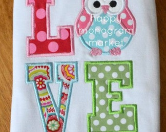 Owl Love Valentine Applique  Shirt T-Shirt Bodysuit Girl Monogrammed Personalized Holiday Outfit