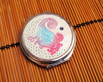 Compact Mirror, Pocket Mirror, Cosmetic Mirror, Paisley Mirror, Clay Mirror, Boho Mirror, Hippie Mirror, Indian Mirror