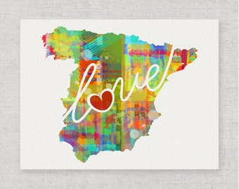 Spain Love - Colorful Watercolor Style Wall Art Print & Home Country Map Artwork - Travel, Moving, Engagement, Wedding, Honeymoon Gift