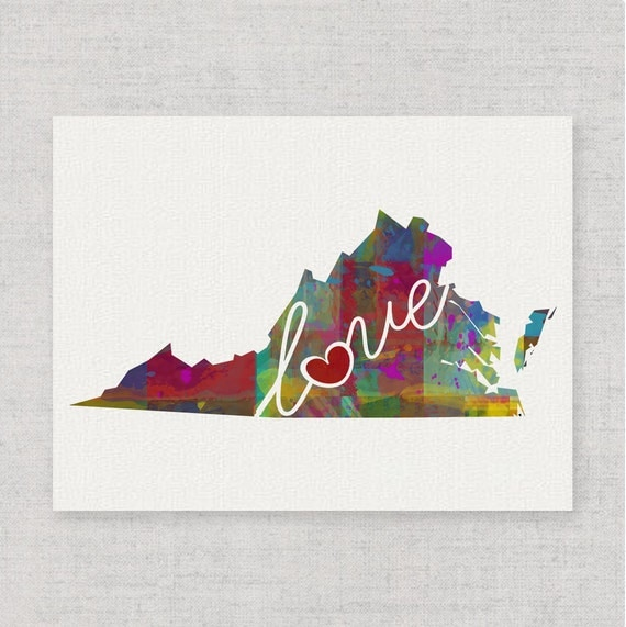 Virginia Love Va Canvas Paper Print A By Traciwithanidesigns